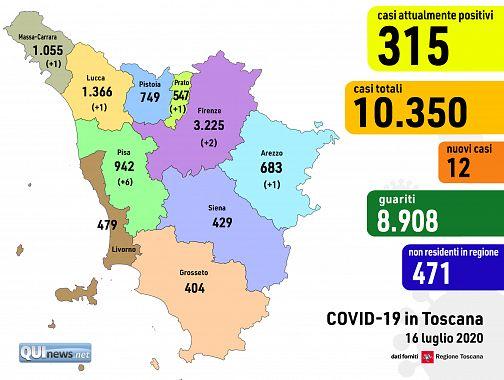 Cartina Della Toscana Con Province.Covid Il Contagio Riprende In 6 Province Toscane Attualita Firenze
